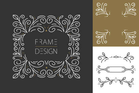 Ilustración de Retro vintage hipster set of line design monogram frames and borders in floral style. Ideal for greeting card, brand design and print poster. EPS10 vector file. - Imagen libre de derechos