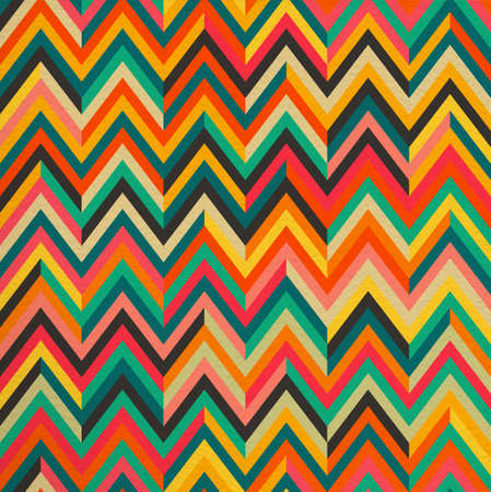 Ilustración de Geometric abstract zigzag colorful vintage retro seamless pattern background. Ideal for fabric, wrapping paper and book cover design. EPS10 vector file. - Imagen libre de derechos