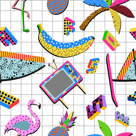 Illustration for Retro vintage 80s memphis summer elements seamless pattern illustration background. Ideal for fabric design, paper print and website backdrop. EPS10 vector file. - Royalty Free Image