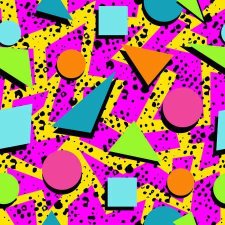 Illustration pour Retro vintage 80s memphis fashion style seamless pattern illustration background. Ideal for fabric design, paper print and website backdrop. EPS10 vector file. - image libre de droit