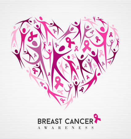 Ilustración de Breast cancer awareness campaign family love design of heart made with pink ribbon elements and silhouettes background. vector file. - Imagen libre de derechos