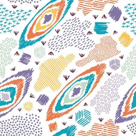 Illustration pour Vintage boho fashion style seamless pattern background with colorful elements. Ideal for fabric design, paper print and web backdrop. EPS10 vector file. - image libre de droit