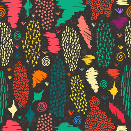 Illustration pour Vintage boho fashion style seamless pattern blackboard background with colorful tribal shapes. Ideal for fabric design, paper print and web backdrop. EPS10 vector file. - image libre de droit