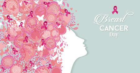 Ilustración de Healthy woman face profile silhouette with pink hair ribbon and nature symbols for breast cancer awareness day. EPS10 vector file. - Imagen libre de derechos