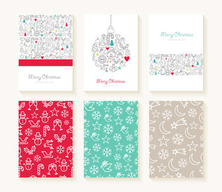Ilustración de Merry christmas set of line icon seamless patterns with outline xmas ornaments and font templates. Ideal for holiday greeting cards, print, or wrapping paper. EPS10 vector file. - Imagen libre de derechos