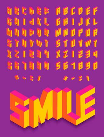 Ilustración de Colorful isometric 3d type font set isolated background illustration. EPS10 vector file. - Imagen libre de derechos