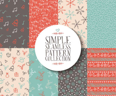 Illustration for Simple seamless pattern collection with christmas templates. Set of handmade holiday elements: reindeer, snowflake, gift, and xmas ornaments. Ideal for wrapping paper or web background. EPS10 vector. - Royalty Free Image