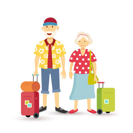Illustration for Elder grandparent couple travel family summer vacation with suitcase, people group illustration in flat art style.  - Royalty Free Image