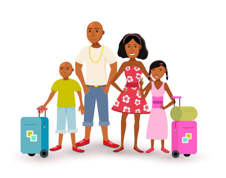 Ilustración de Happy african american family with parents and children travel summer vacation together, people group in flat art style.  - Imagen libre de derechos