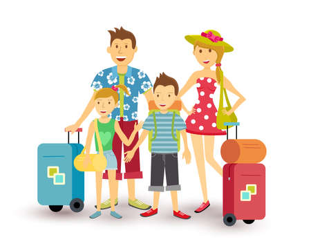 Illustration for Happy family of parents and children travel summer vacation with suitcase, people group illustration in flat art style.  - Royalty Free Image