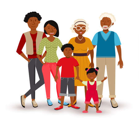 Ilustración de People collection: happy Multi Generation family group with dad, mom, children and grandparents in flat style illustration.  - Imagen libre de derechos