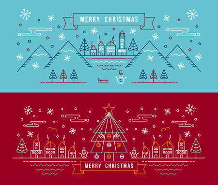 Illustration pour Merry christmas banner set in outline linear style. City with snowman, xmas tree and winter holiday elements.  - image libre de droit