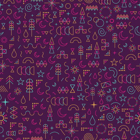 Illustration pour Seamless pattern in line art style with colorful geometry elements.  - image libre de droit