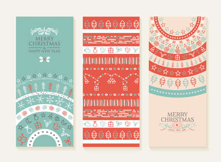 Illustration pour Merry christmas happy new year set of banners and seamless pattern - image libre de droit
