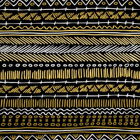 Illustration pour Fancy golden boho seamless pattern with retro tribal elements and lines on blackboard background. Ideal for greeting card design, print or web. EPS10 vector file. - image libre de droit