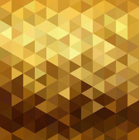 Ilustración de Fancy golden seamless pattern in low polygon mosaic style. Ideal for web background, print, or greeting card. EPS10 vector. - Imagen libre de derechos