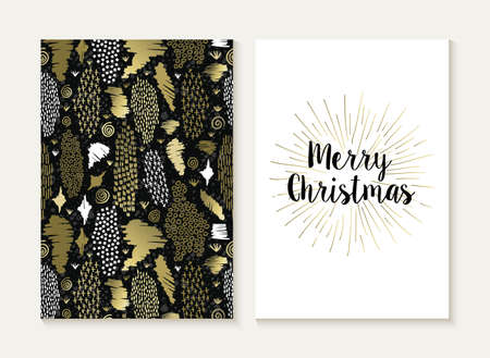 Illustration pour Merry Christmas card template set with retro tribal style seamless pattern and trendy Xmas text in gold metallic color. Ideal for holiday greetings.   - image libre de droit