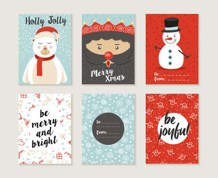 Ilustración de Merry Christmas greeting card set with cute polar bear, santa elf and snowman retro designs. Includes holiday themed seamless patterns. EPS10 vector. - Imagen libre de derechos