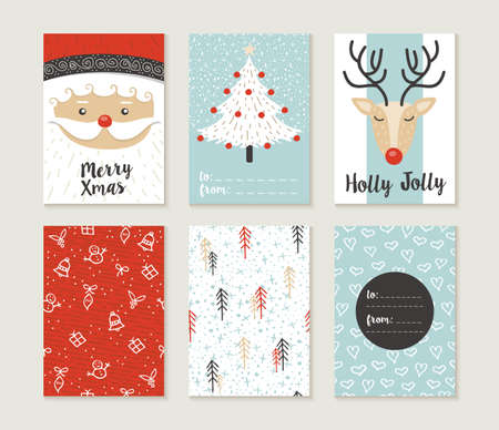 Ilustración de Merry Christmas greeting card set with cute xmas tree, santa and deer retro designs. Includes holiday themed seamless patterns. EPS10 vector. - Imagen libre de derechos