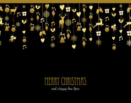 Illustration for Merry Christmas Happy New Year holiday decoration in gold color with deer, holly, bird, snow and gift elements. Ideal for Xmas greeting card, event invitation or poster. EPS10 vector. - Royalty Free Image