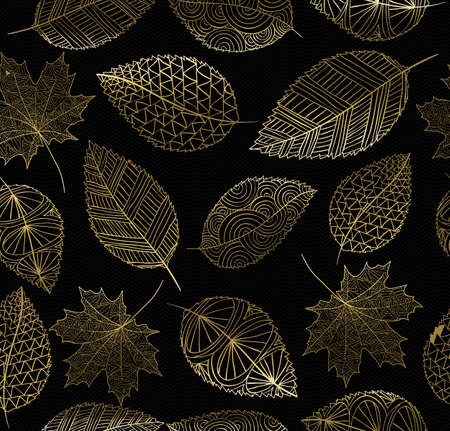 Illustrazione per Fall seamless pattern with gold hand drawn leaves background. Ideal for card, wrapping paper, web or print texture. EPS10 vector. - Immagini Royalty Free