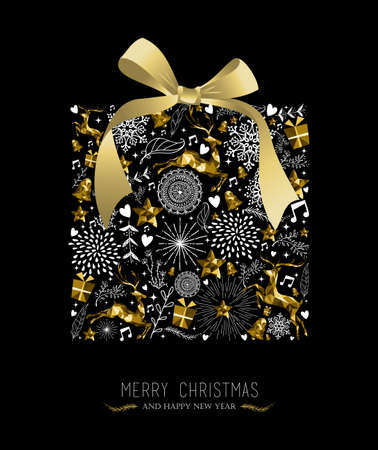 Illustration pour Merry Christmas Happy New Year greeting card design, holiday elements and reindeer in gold low poly style making gift shape silhouette. EPS10 vector. - image libre de droit