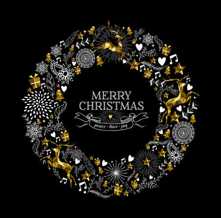 Illustration pour Merry Christmas label design with elegant wreath made from gold low poly reindeer silhouettes and hand drawn holiday elements. Ideal for Xmas greeting card. EPS10 vector. - image libre de droit