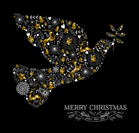 Ilustración de Merry Christmas Happy New Year greeting card design, holiday elements and reindeer in gold low poly style making peace dove bird shape silhouette. EPS10 vector. - Imagen libre de derechos