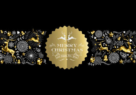 Illustration pour Merry Christmas Happy New Year gold label badge with low poly golden reindeer and holiday elements seamless pattern. Ideal for xmas greeting card, poster or web. EPS10 vector. - image libre de droit