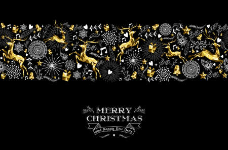 Illustration pour Merry christmas happy new year label design with holiday seamless pattern, reindeer silhouette and xmas elements in gold low poly style. Ideal for greeting card, poster or web. EPS10 vector. - image libre de droit