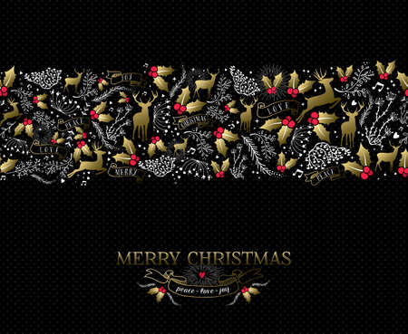 Ilustración de Vintage Christmas card elements, reindeer and holly in gold colors with text over seamless pattern background. - Imagen libre de derechos
