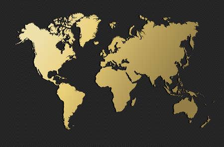 Illustration pour Empty world map silhouette in gold color, concept illustration. EPS10 vector. - image libre de droit
