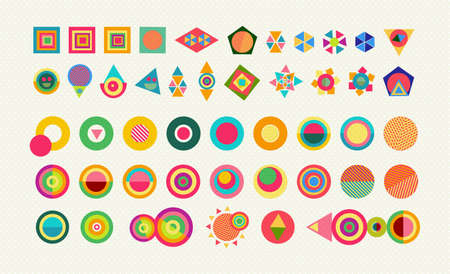 Illustration pour Geometry element shapes set, colorful fun abstract icons and symbols with vibrant pop style designs. EPS10 vector. - image libre de droit