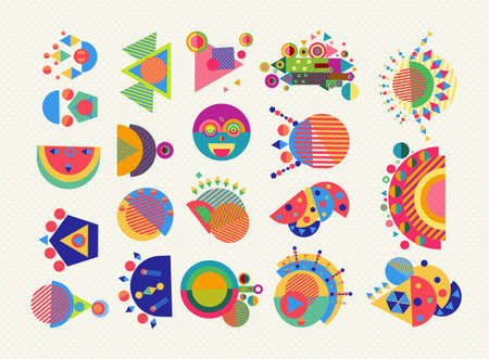 Illustration pour Set of geometry elements, abstract symbols and shapes in fun colorful style. EPS10 vector. - image libre de droit