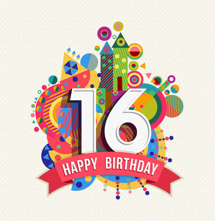 Illustration pour Happy Birthday sixteen 16 year, fun celebration greeting card with number, text label and colorful geometry design. EPS10 vector. - image libre de droit