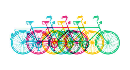 Ilustración de Retro bike silhouette banner design, vibrant colorful retro bicycles concept illustration. EPS10 vector. - Imagen libre de derechos