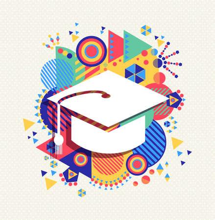 Illustration pour College graduation cap icon, school education concept design with colorful geometry element background. - image libre de droit