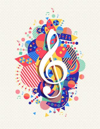 Ilustración de Music note g treble clef icon concept design with colorful geometry element background. - Imagen libre de derechos