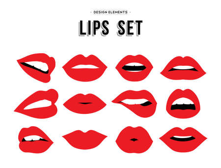 Ilustración de Woman's lip gestures set. Girl mouths close up with red lipstick makeup expressing different emotions.  vector. - Imagen libre de derechos