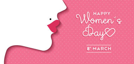 Illustration pour Happy International Women's Day on March 8th design background. Illustration of woman's face profile with retro style makeup.  vector. - image libre de droit