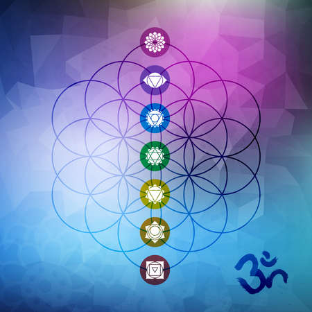Illustration pour Sacred geometry abstract design, flower of life outline with main chakra symbols on gemetric low poly background. - image libre de droit