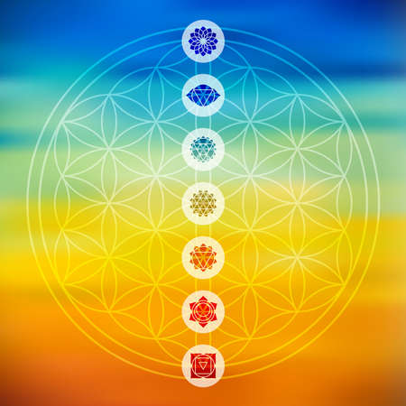 Illustration pour Sacred geometry Flower of Life design with seven main chakra icons over colorful blurred gradient background. - image libre de droit