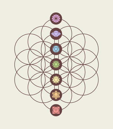 Ilustración de Main chakras on flower of life sacred geometry background, harmony and balance modern design. - Imagen libre de derechos