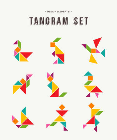 Illustration pour Colorful set of tangram game icons made with geometry shapes in abstract style, includes animals and people. EPS10 vector. - image libre de droit