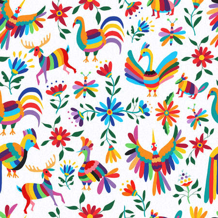 Illustration for Traditional mexican art background, seamless pattern of colorful wild animals and spring time flowers. EPS10 vector. - Royalty Free Image