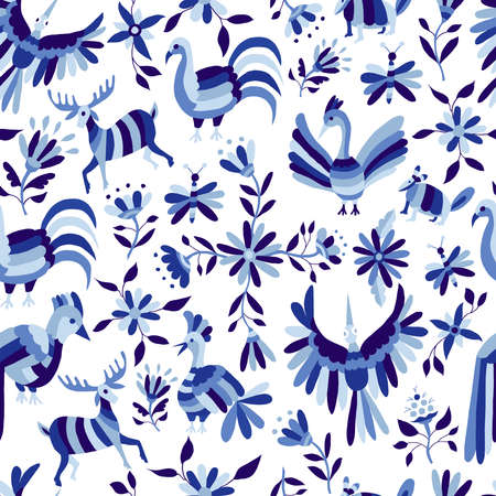 Illustration for Vintage style nature seamless pattern, animals and flowers design in indigo blue color. EPS10 vector. - Royalty Free Image