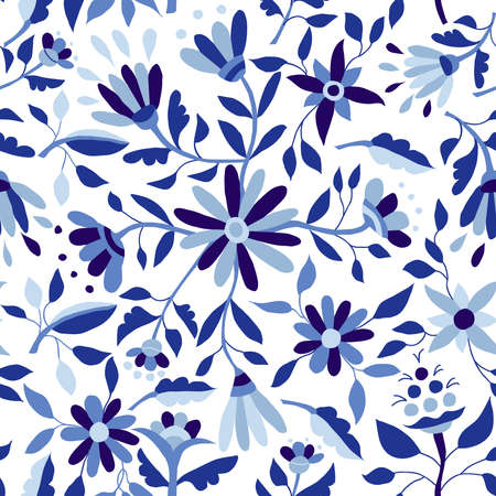 Illustration for Blue indigo color seamless pattern with vintage flower illustrations, spring time season floral background art. EPS10 vector. - Royalty Free Image