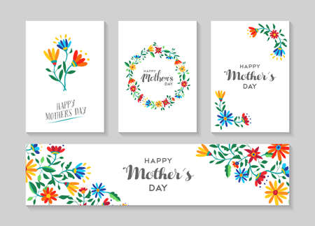 Illustration pour Set of retro flower cards template with spring time illustrations for special mothers day family event. EPS10 vector. - image libre de droit