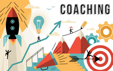 Ilustración de Coaching concept illustration, achieve your business goals at work. Flat art outline style elements related to job success. EPS10 vector. - Imagen libre de derechos