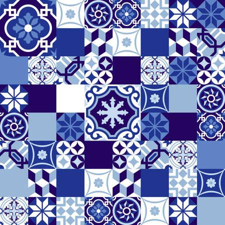 Illustration pour Blue indigo seamless pattern in patchwork style, traditional ceramic mosaic tile decoration. EPS10 vector. - image libre de droit